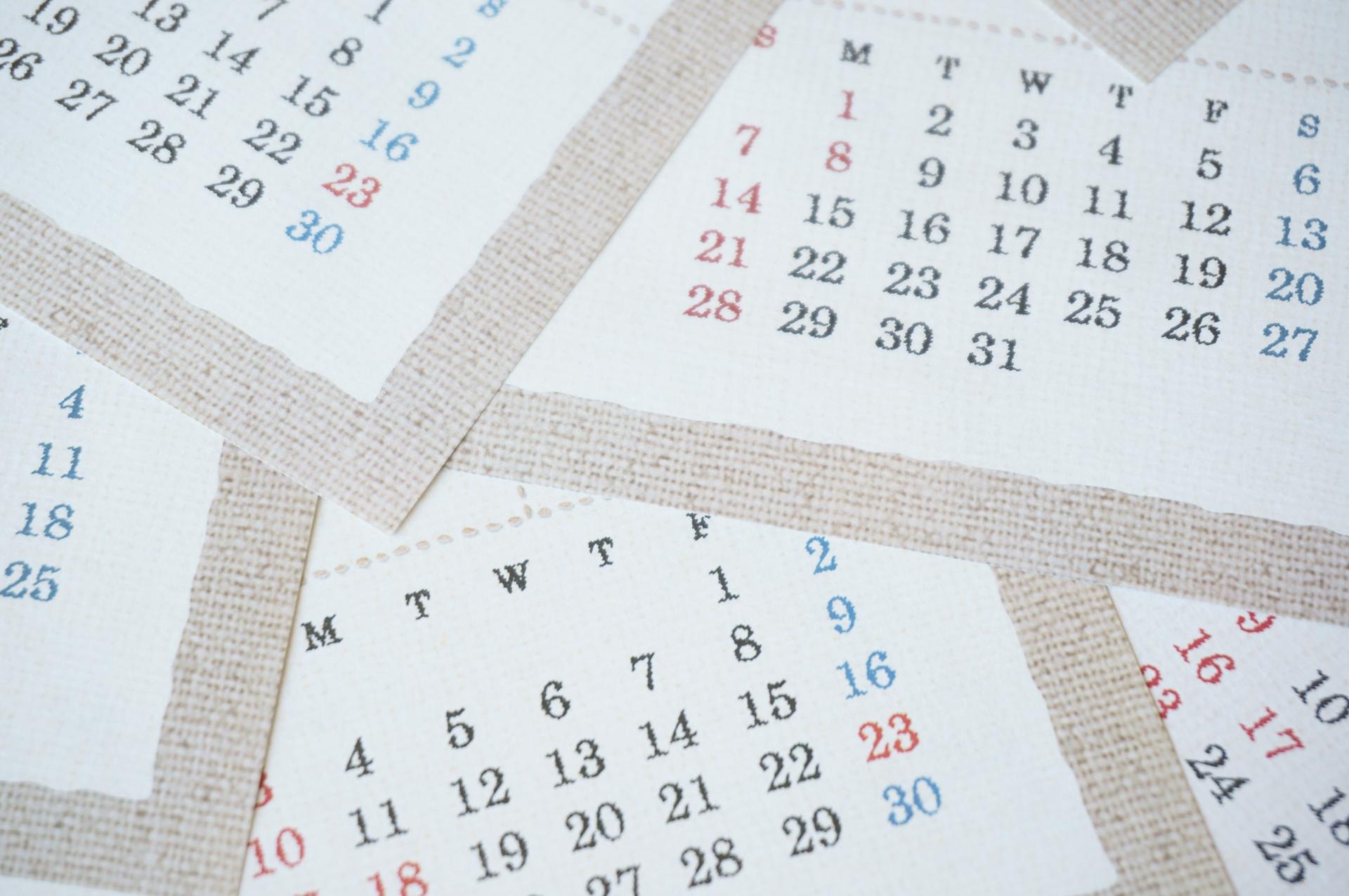 カレンダーで期間を確認